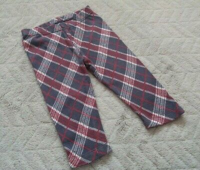 Baby Girls 100% Cotton Grey White & Red Checked Leggings (6-9 Months)