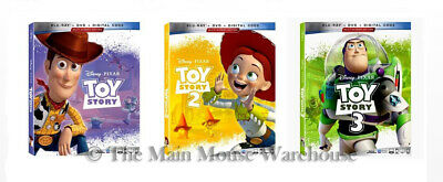 Disney Pixar Toy Story Trilogy Set 1 2 3 Movies Blu-ray DVD & Digital Copy Code