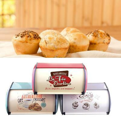 Iron Bin Kitchen Container Cake Keeper Food Kitchen Bakery Storage Roll Top Lid