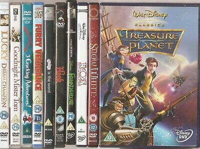 Treasure Planet / 101 Dalmatians / Frankenweenie / Hook / Grease - DVD Job Lot