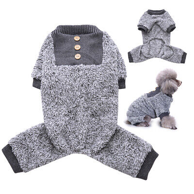 Small Dog Pajamas Soft Warm Fleece Jumpsuit Pet Puppy Clothes Apparel Grey S-XL