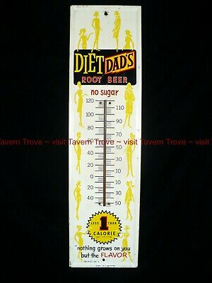 rare Large 1960s DIET DAD'S ROOT BEER slim ladies 27¼ x 7¼ inch tin thermometer