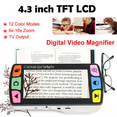 """4.3"""" Display Video Magnifier Digital 6-16x Low Vision Reading Aid 12x Color Mode"""