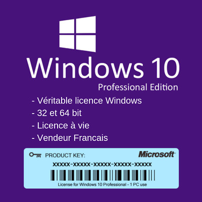 FR Windows 10 Pro Véritable Clé Microsoft Key Licence Original à Vie 32/64 bits