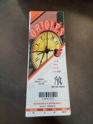Villar Cycle - Baltimore Orioles Yankees MINT Season Ticket 8/5/19 2019 MLB Stub