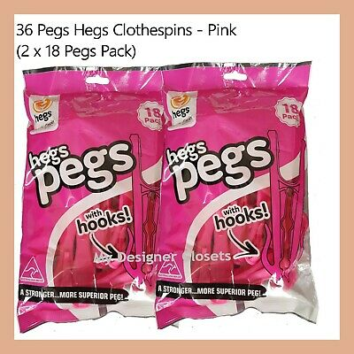 36 Pegs Hegs Clothespins Pegs Aussie Design Pink Made in Australia Clothes Pin