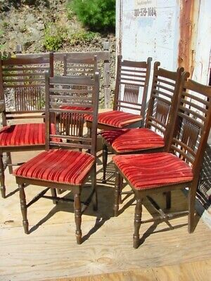 Set Of Six Victorian Oak Dining Chairs In Nh