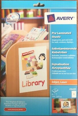 Avery Pre Laminated Sheet, 170mm x 257mm, 8 Sheets Per Pack