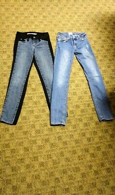 HUDSON/TRACTR Lot Of 2 Blue Black Cotton Blend Girl's Jeans Size 12 HH0047