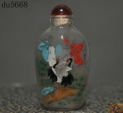 Chinese dynasty glass inside Painted animal pine Crane bird statue snuff bottle