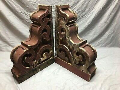 Large Pair Antique Corbels Roof Brackets Victorian Shabby Shelf Vtg Chic 130-19J