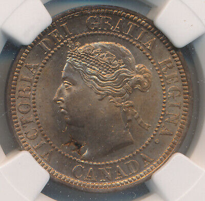 Canada Large Cent 1887 - Ngc Mint Error Ms 65 Rd