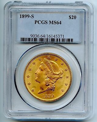 1899-S $20 Liberty Gold Double Eagle ~ Pcgs Ms64 ~ Graded Collectors Piece