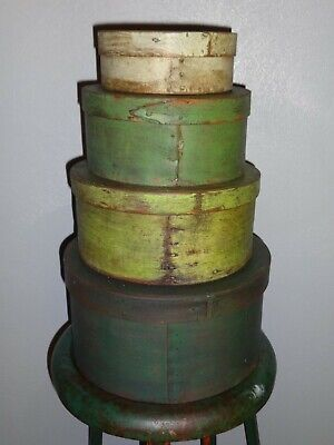 Stack of 4 Antique Pantry Box-Green Paint-Shaker-Firkin-Primitive