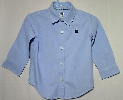 Janie and Jack blue oxford long sleeve dress shirt size 12-18 months