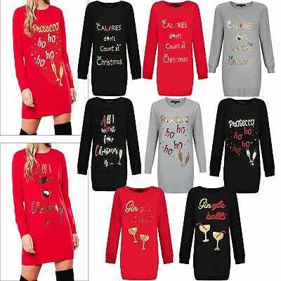 Heart And Soul Womens Sequin Christmas Tunic Jumpers Ladies Novelty Knitted Tops