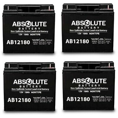 New 4 Pack Ab12180 12V 18Ah Jumper Pack Booster Box Battery Replacement