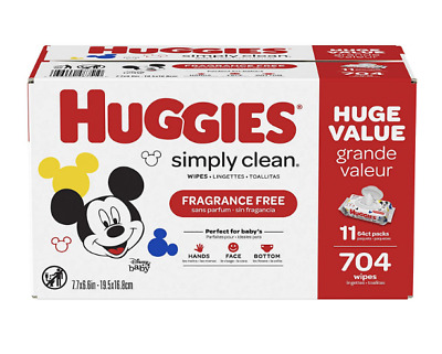 NEW HUGGIES Simply Clean Fragrance-free Baby Wipes, Alcohol-free, Hypoallergenic