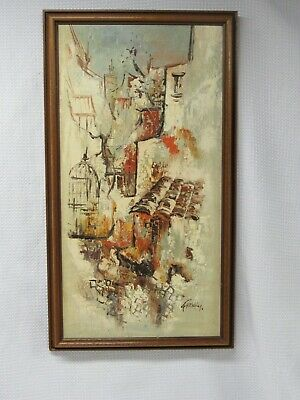 Mid Century Modern Oil Painting Streetscape Cityscape Abstract Expressionism