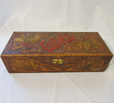 Vintage FLEMISH ART CO Pyrography & Painted Art Wooden Glove Box Silk Lined