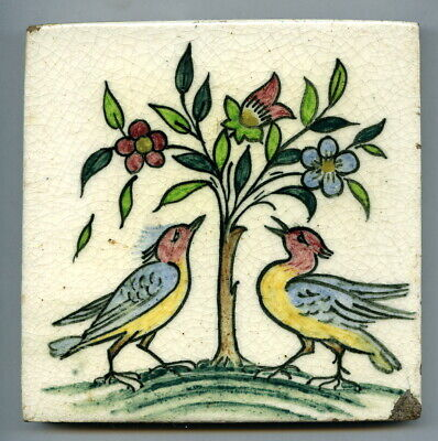 "Handpainted 5""sq tile from the ""Birds & Flowers"" series by Packard & Ord, c1935"