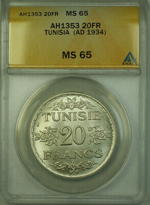 1934 Tunisia AH1353 Silver 20 Francs Coin ANACS MS 65 KM#263
