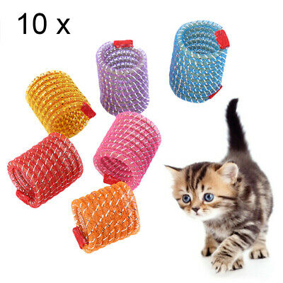 10pc Cat Toys Colorful Spring Plastic Bounce Pet Kitten Random Color Interactive