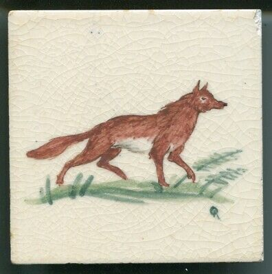 """Handpainted 4""""sq tile from the """"Small Animals"""" series by Packard & Ord, c1946"""