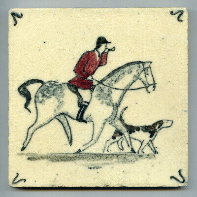 "Handpainted 5""sq tile from the ""Hunting"" series by Packard & Ord, c1935"