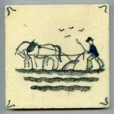 """Handpainted 5""""sq tile from the """"Farming"""" series by Packard & Ord, c1935"""