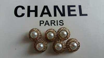 CHANEL BUTTONS SET OF 6 18 mm GOLD TONED METAL WHITE PEARL