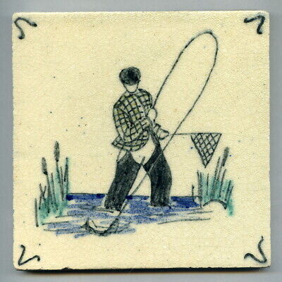 """Handpainted 5""""sq tile from the """"Fishing"""" series by Packard & Ord, c1935"""