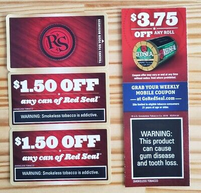 $6.75 in Cigarettes Smokeless Chew Dip Roll Tobacco Coupons1: Red Seal
