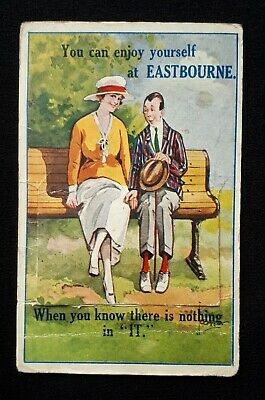 KGV 1924 PULL-OUT PHOTO novelty POSTCARD EASTBOURNE 271 POSTAGE DUE STAMPS