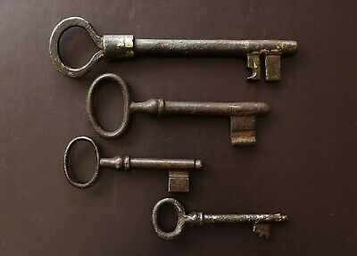 Vintage Antique Imperial Russian Steel Old Door Set of Keys / dug in the ground/