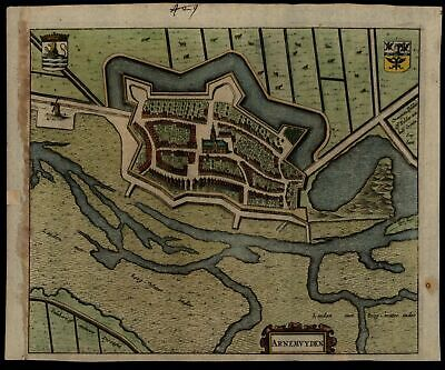 Arnemuiden Netherlands Middleburg Zeeland c.1680 early city plan map