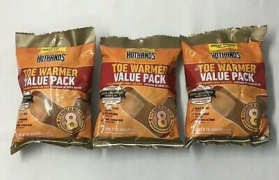 (3) HotHands TOE WARMERS 7 Pair Value Pack = 21 total sets Exp 07/2022 Hot Hands
