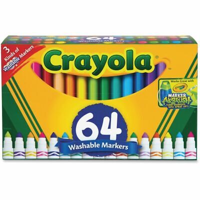 Crayola Washable Markers - Conical Marker Point StyleGel-based Ink - 64 / Set