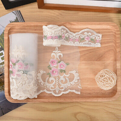 Small Pink Flowers Embroidery Lace Mesh Ribbon Trim For Sofa Cushion Decoration