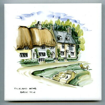 """Handpainted 6""""sq tile from the """"Inns"""" series by Packard & Ord, 1962"""