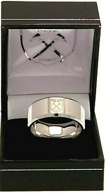 West Ham United Fc Stainless Steel Crest Band Ring Complete In Gift Box Whfc Utd