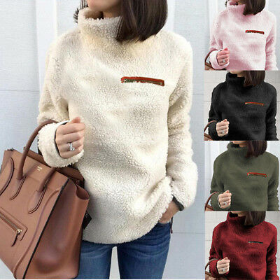 Womens High Neck Teddy Bear Fleece Sweater Jumper Winter Warm Coat Pullover Tops