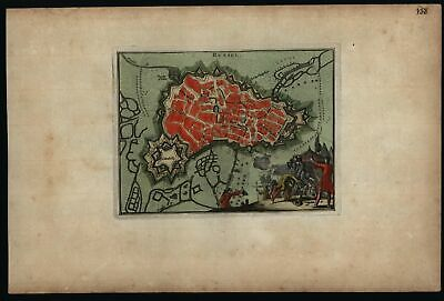 Lille France Rysel c.1720 fortified military city plan soldiers vignette map