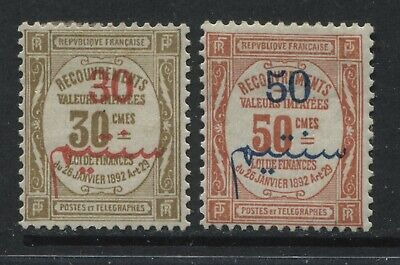 French Morocco 1908-10 30 & 50 centimos overprinted on French Postage Dues mint
