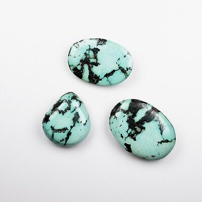 Lot of (3) 120 Total Carats 100% NATURAL Blue-Green PERSIAN Turquoise Cabochons
