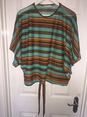 Womens ZARA TRAFALUC Fine Knitted Striped Slouch Top Drawstring Hem Sz 8 /10 New