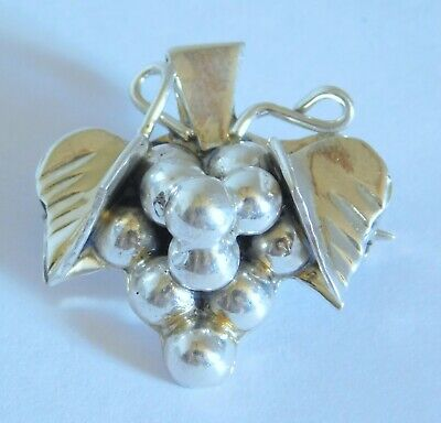 Vintage Taxco Sterling Silver Grape Cluster Pin or Pendant 8 grams