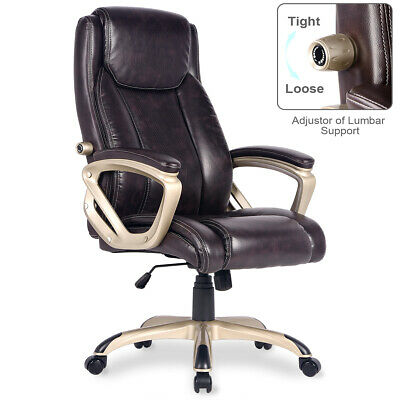 Executive Ergonomic PU Leather Office Desk Chair High-Back Computer Chair Brown