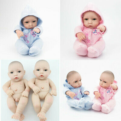 10'' Twins Reborn Baby Doll Lifelike Full Body Vinyl Silicone Boy+Girl Gifts Toy