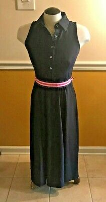 NWT JUDE CONNALLY Ashlyn Navy Ribbon Tie Dress W/ Pink & White Belt and Pockets